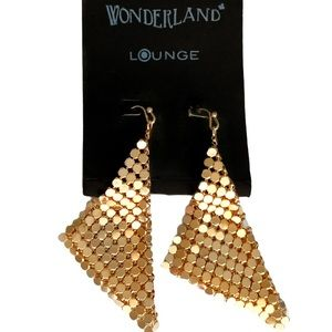 🆕 Gold Metal Sequin Mesh Triangle Earrings NWT